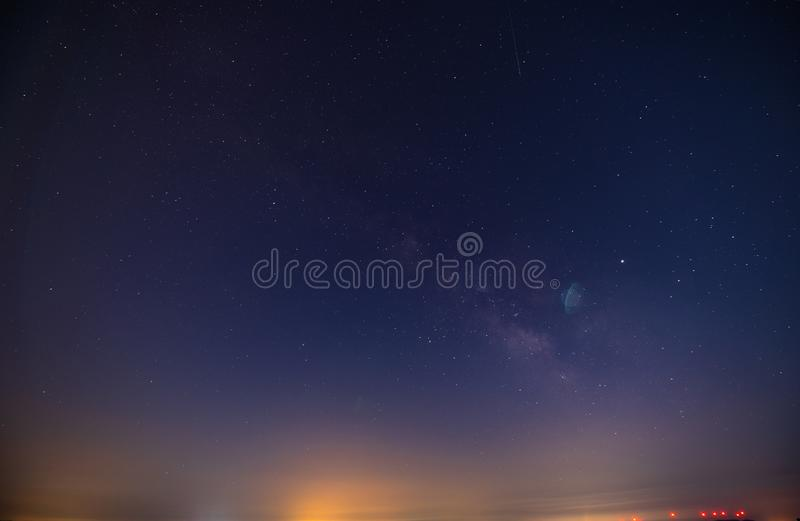 Beautiful Nightscape with a Part of the Milky Way, Mazzarino, Caltanissetta, Sicily, Italy, Europe royalty free stock photo