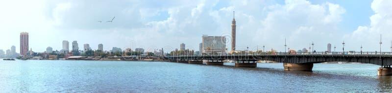 Beautiful Nile panorama, the bridge and the Tower of Cairo, Egypt.  stock photo