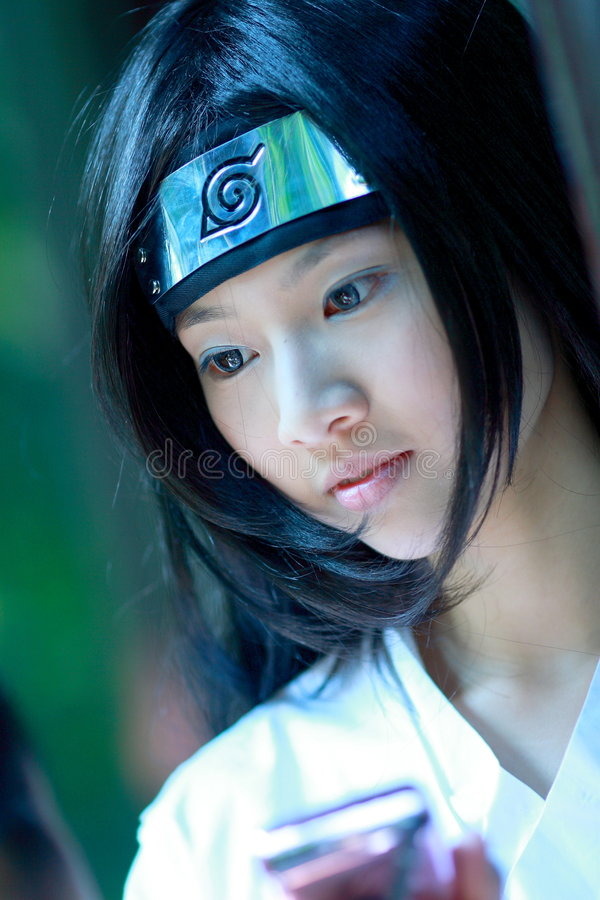 Beautiful ninja. A girl as a ninja royalty free stock photo