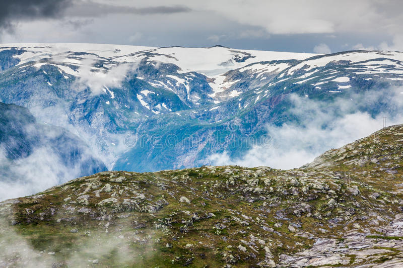 Beautiful norwegian landscape with mountains on the the way to t. Rolltunga stock photos