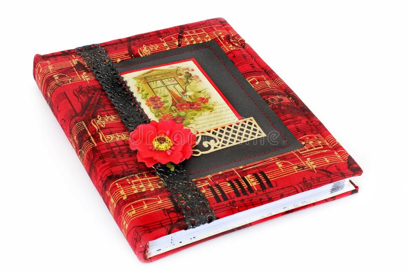 Beautiful notebook. Notebook in scrapbooking techniques.  royalty free stock photo