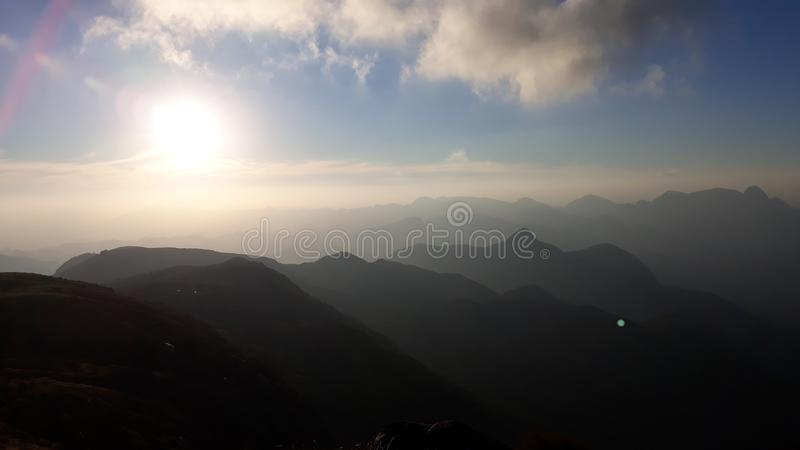 Beautiful November Sunset view at Parque Nacional Serra dos Órgãos royalty free stock photography
