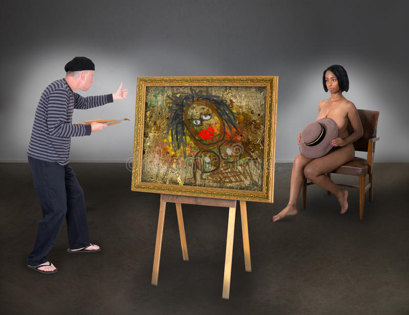 Beautiful Nude Model Woman Funny Artist Painter stock photos