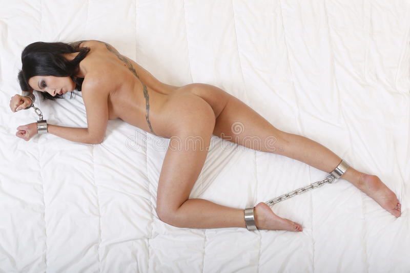 Beautiful Nude Or Naked Woman Handcuffed Stock Photo -4520