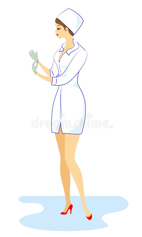 Beautiful nurse, doctor. The girl holds a folder to record the patient`s medical history. The woman is an experienced professiona vector illustration