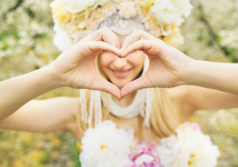 Beautiful nymph and the love gesture royalty free stock photo