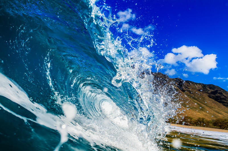 Beautiful Ocean Background Big Shorebreak Wave for Surfing. Hawaiian swell for sport activity. Power and Energy Of Nature stock image