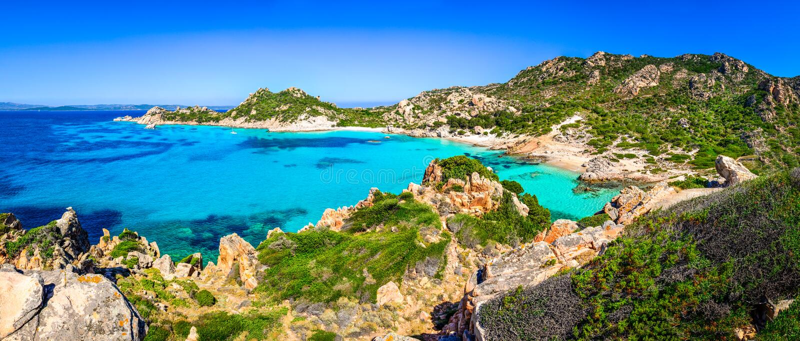 Beautiful ocean coastline beach panorama in Maddalena islands, I. Beautiful ocean coastline beach panorama in Maddalena islands, Sardinia, Italy royalty free stock images