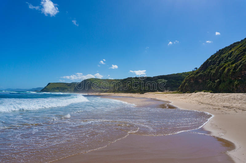 Beautiful ocean coastline with Garie beach and green hills. Australia. Beautiful ocean coastline with beach and green hills. Garie beach, Australia stock images