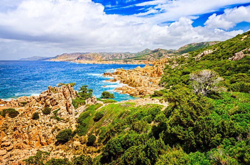 Beautiful ocean coastline landscape during sunny day stock photo