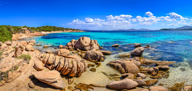 Beautiful ocean coastline panorama in Costa Smeralda, Sardinia. Beautiful ocean coastline panorama with beaches in Costa Smeralda, Sardinia, Italy royalty free stock image