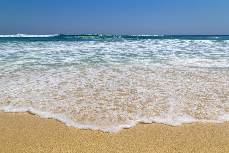 Beautiful ocean at Echo beach in sunny day in Canggu, Bali royalty free stock photography