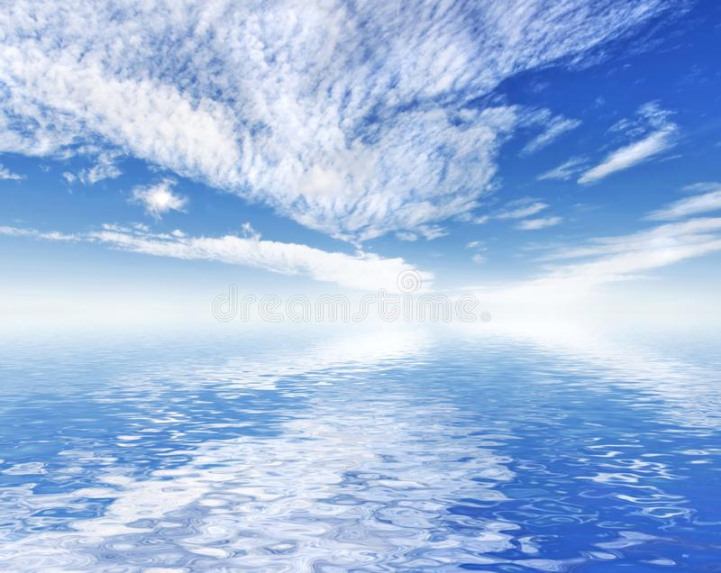 Beautiful ocean sea view with sky reflection. royalty free stock images