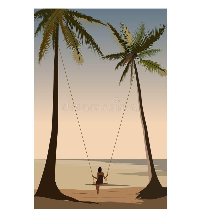 Beautiful ocean view palm sea swing girl romance royalty free illustration