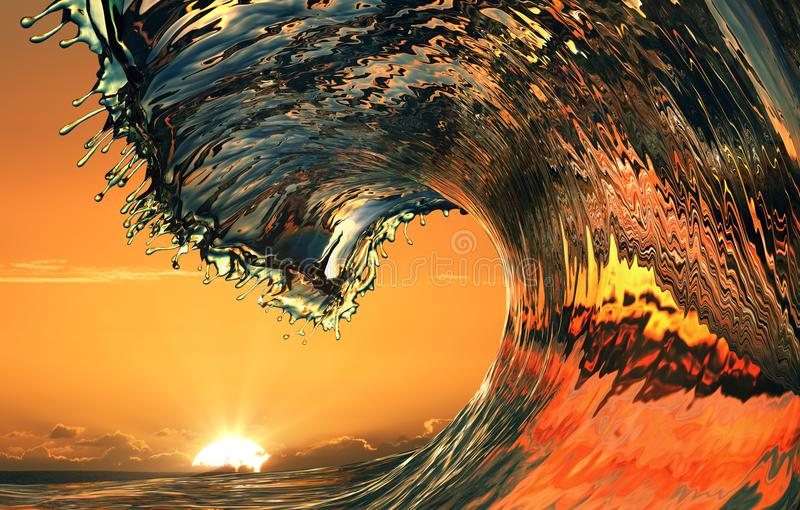 Beautiful ocean wave, sea water rip curl. Surfing crest, colorful sunset stock image