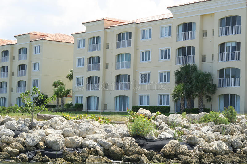 Beautiful oceanfront condos stock image