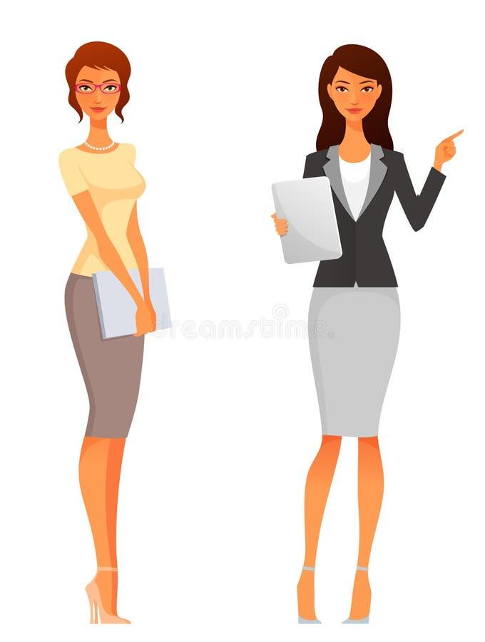 Beautiful office or business women stock illustration