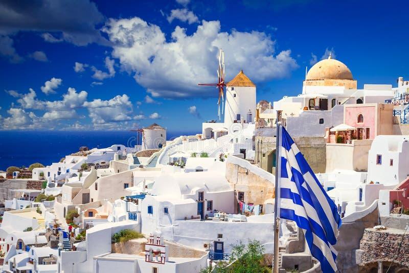 Beautiful Oia town on Santorini island, Greece royalty free stock image