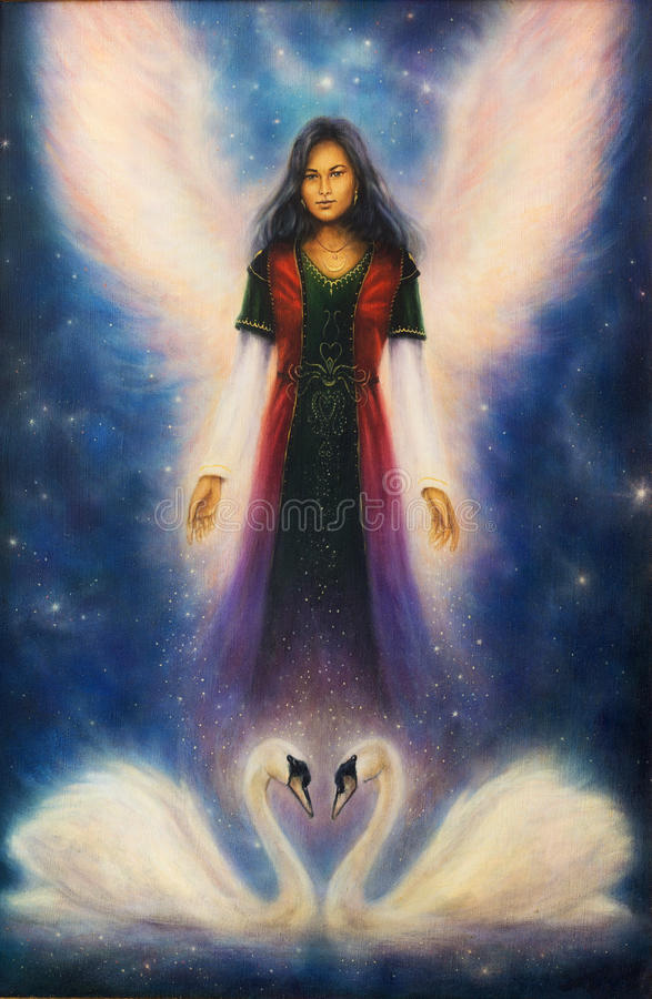 A beautiful oil painting on canvas of an angel woman with radian royalty free illustration