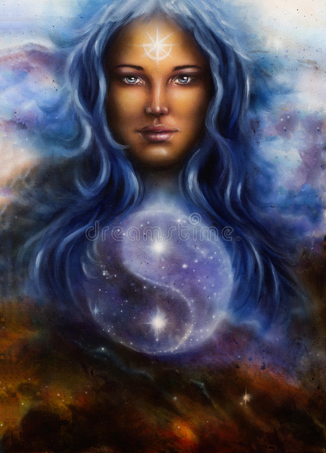 Beautiful oil painting on canvas of a woman goddess Lada as a m royalty free illustration