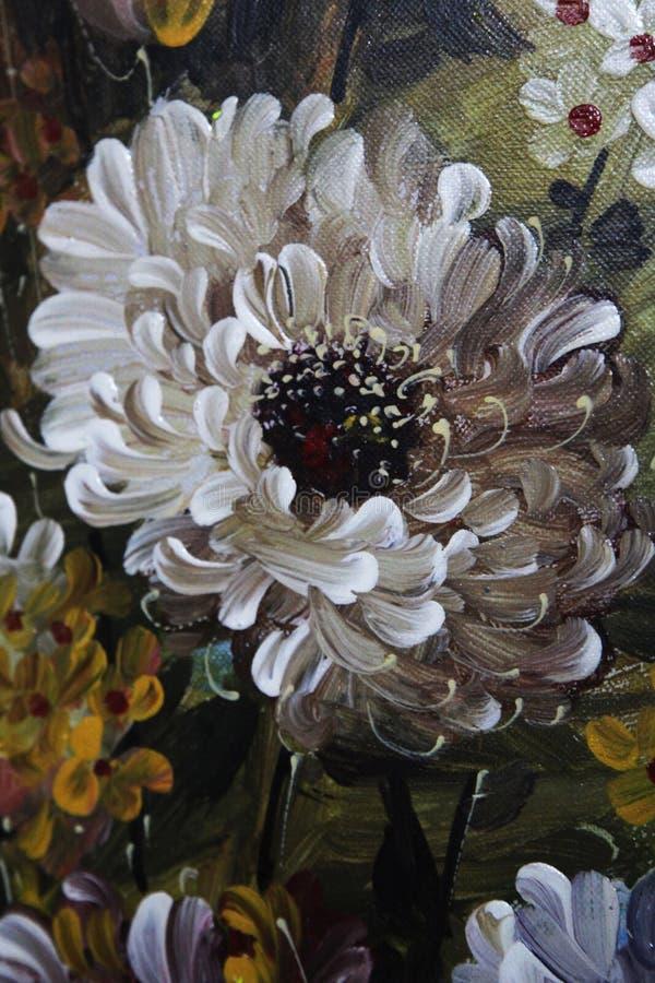 Oil painting closeup of a chrysanthemum flower in white. Beautiful oil painting of a chrysanthemum flower in white and black stock photography