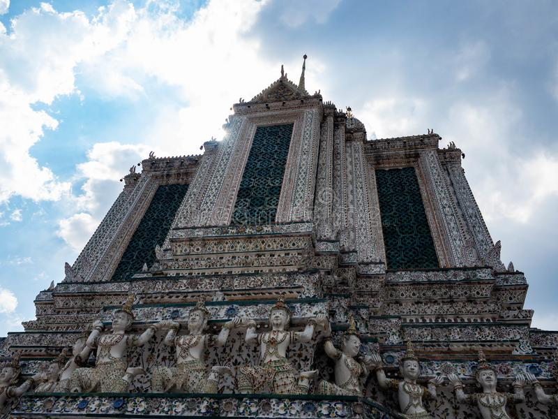 Beautiful old architecture designed by Thai people,Temple name is Wat Arun Ratchawararam Woramahaviharn at Bangkok Thailand royalty free stock photos