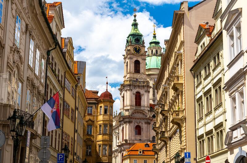 Beautiful old architecture in Mala Strana in old town of Prague in Czech Republic stock photography
