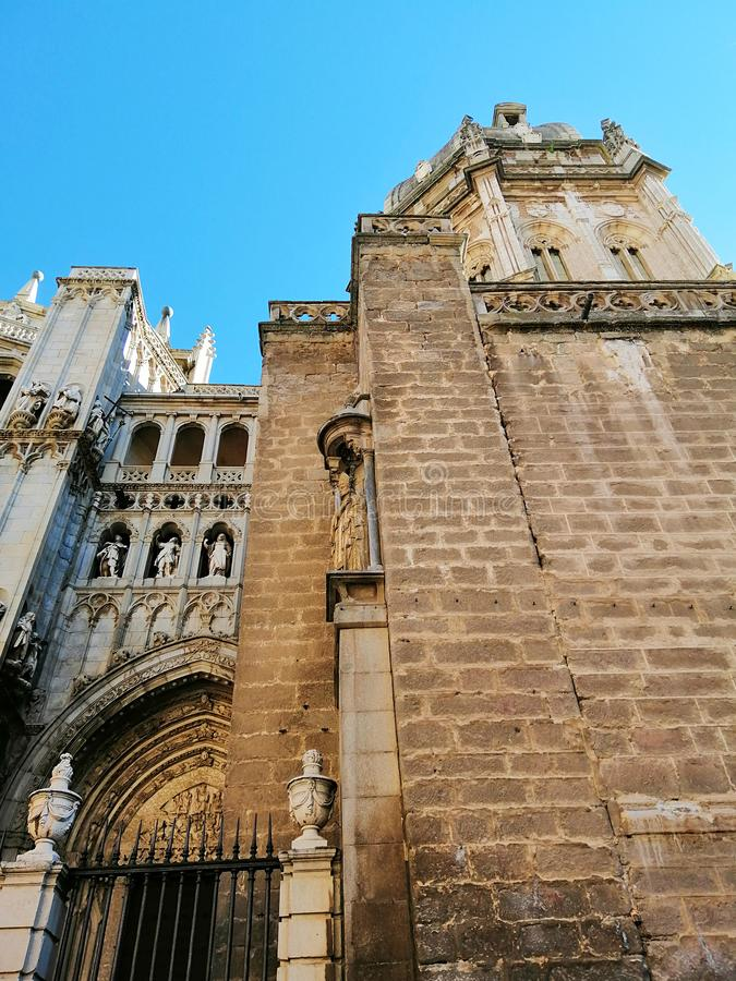 Toledo Cathedral, High Gothic cathedral in Spain. Beautiful old architecture of Toledo, Spain. Beautiful sunny day in Toledo royalty free stock images