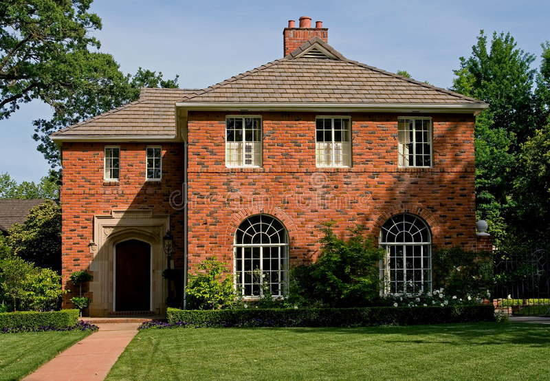 Beautiful old brick house stock photos