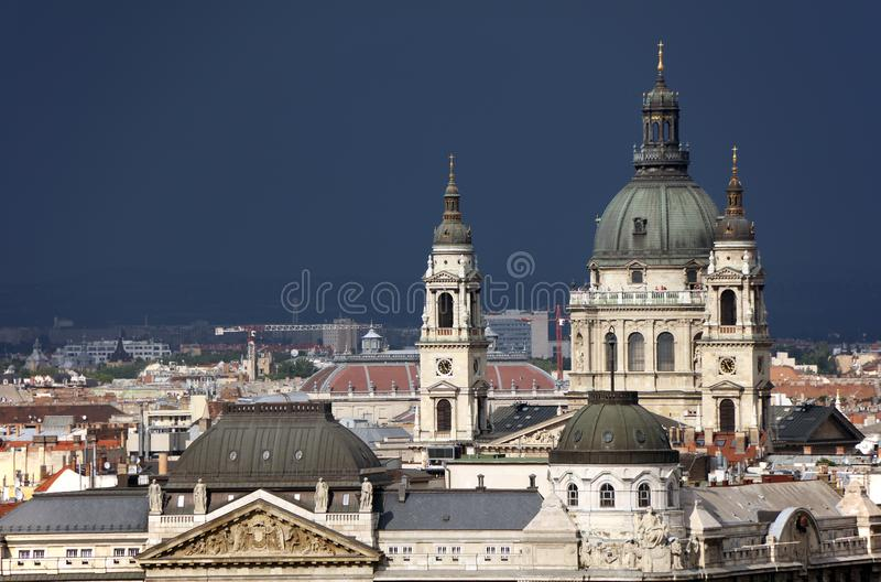 Cityscape image of Budapest, capital city of Hungary. Beautiful old buildings in Budapest, The Gresham Palace - Gresham palota - in front, Budapest, Hungary stock images