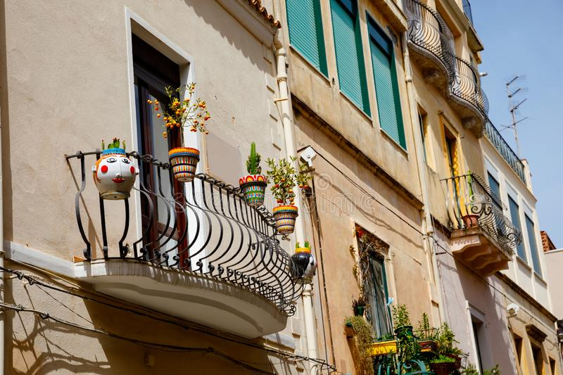 Beautiful old buildings, streets, stairs and alley ways in the town of Taormina, Cantania, Sicily, Italy.  royalty free stock photo