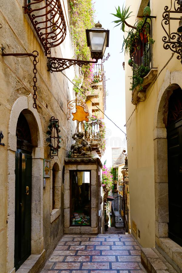 Beautiful old buildings, streets, stairs and alley ways in the town of Taormina, Cantania, Sicily, Italy.  stock images