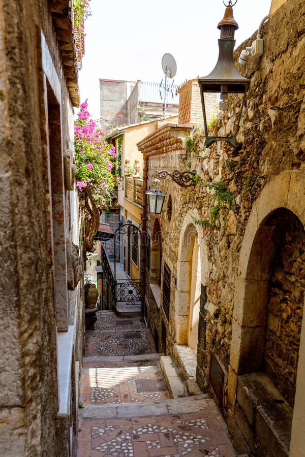 Beautiful old buildings, streets, stairs and alley ways in the town of Taormina, Cantania, Sicily, Italy.  royalty free stock images