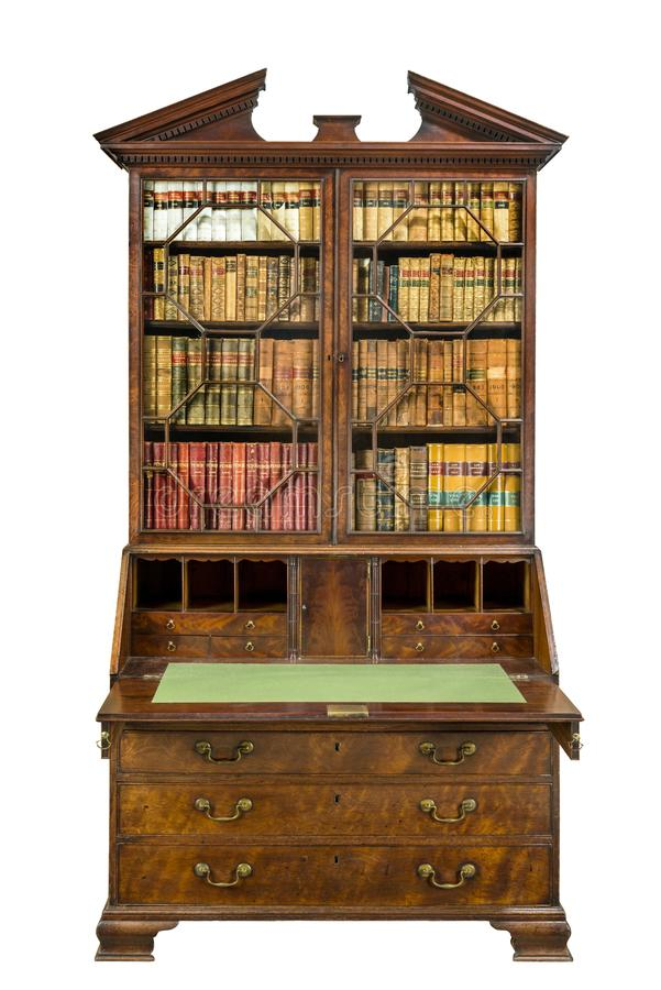 Free Beautiful Old Bureau Bookcase Open Isolated On White Stock Photos - 161581583