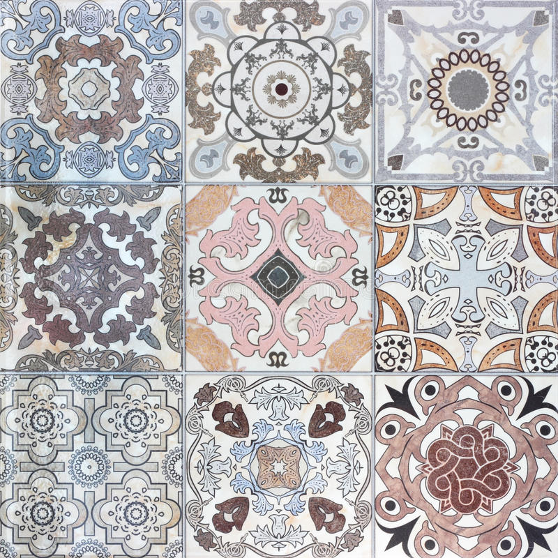 Beautiful Old Ceramic Tile Wall Patterns Stock Photo - Image of ...