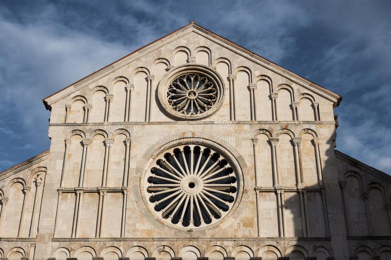 Beautiful old church in Zadar, Croatia with blue cloudy sky. Ancient beautiful building style royalty free stock photo