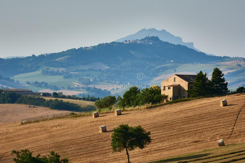A beautiful old farmhouse in the hills of Le Marche in Italy stock image