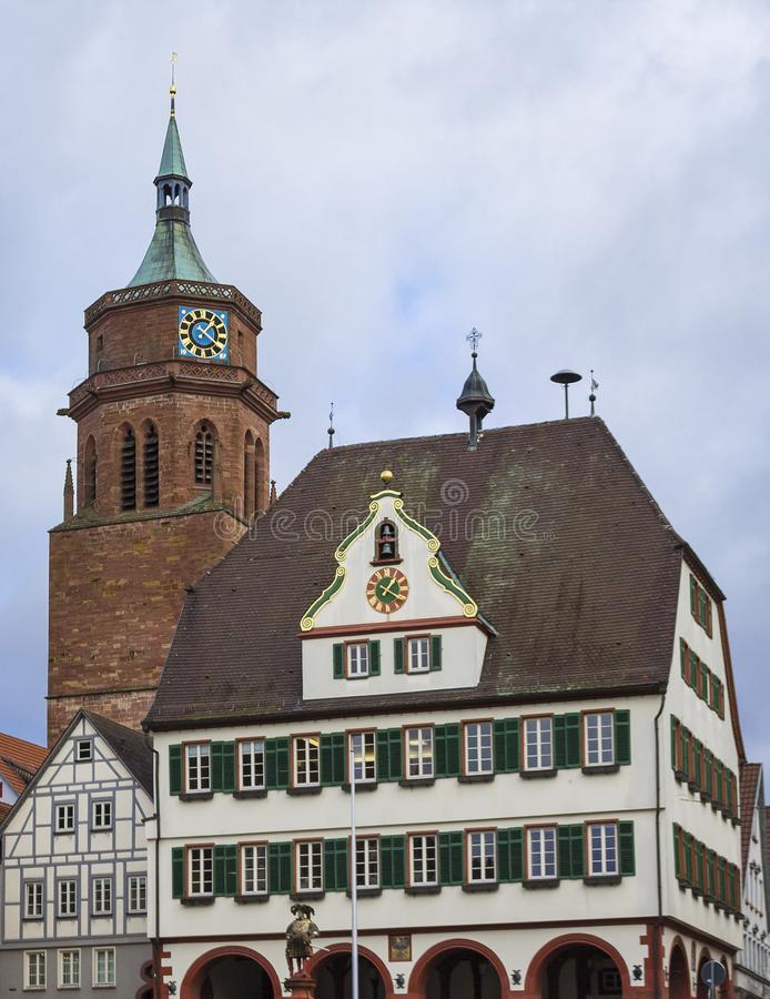 Beautiful old german town or city near Stuttgart. Weil Der Stadt, Germany. Weil Der Stadt, Germany, Jan 14, 2019: Johannes Kepler`s Motherland Old german town royalty free stock images