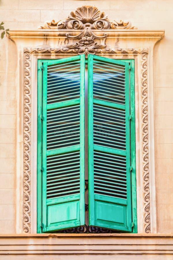 Beautiful old green window. Majorca Spain royalty free stock photos