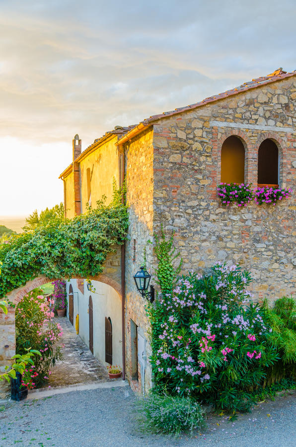 Download Beautiful Old Itanlian Stone House With Arched Windows And Typical Plants During Sunset, Italy Stock Image - Image of light, italy: 83700263