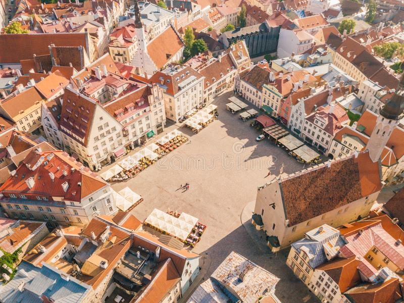Beautiful old medieval town in Estonia. stock photos