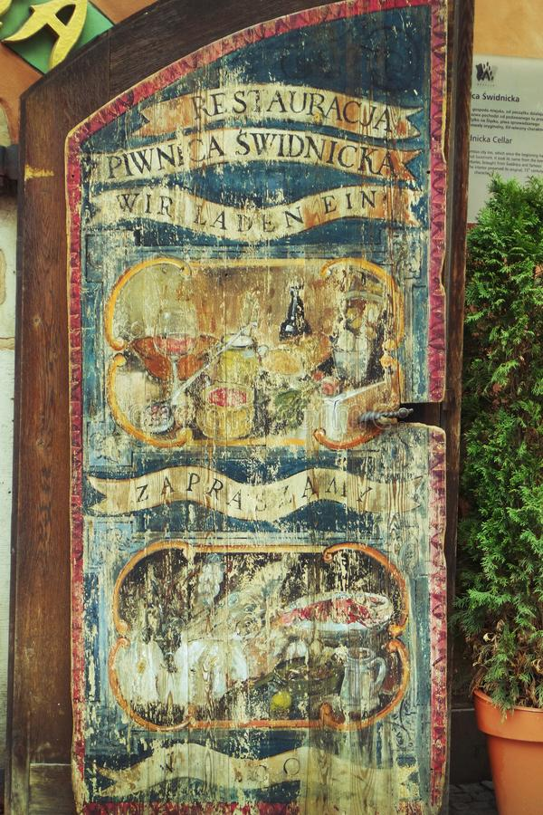 Beautiful old painted door in Wroclaw stock images