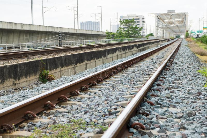 Beautiful The old railway tracks at thailand.  royalty free stock images
