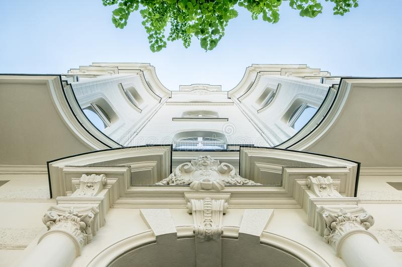 Beautiful old residential building facade. Real estate exterior residential stock photo