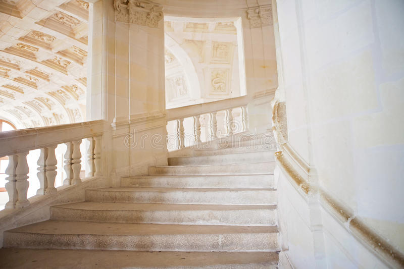 Beautiful old rustic stone airy staircase. Daytime stock photography