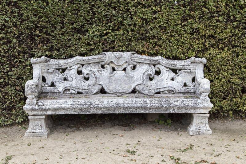 Beautiful old stone bench stock photo
