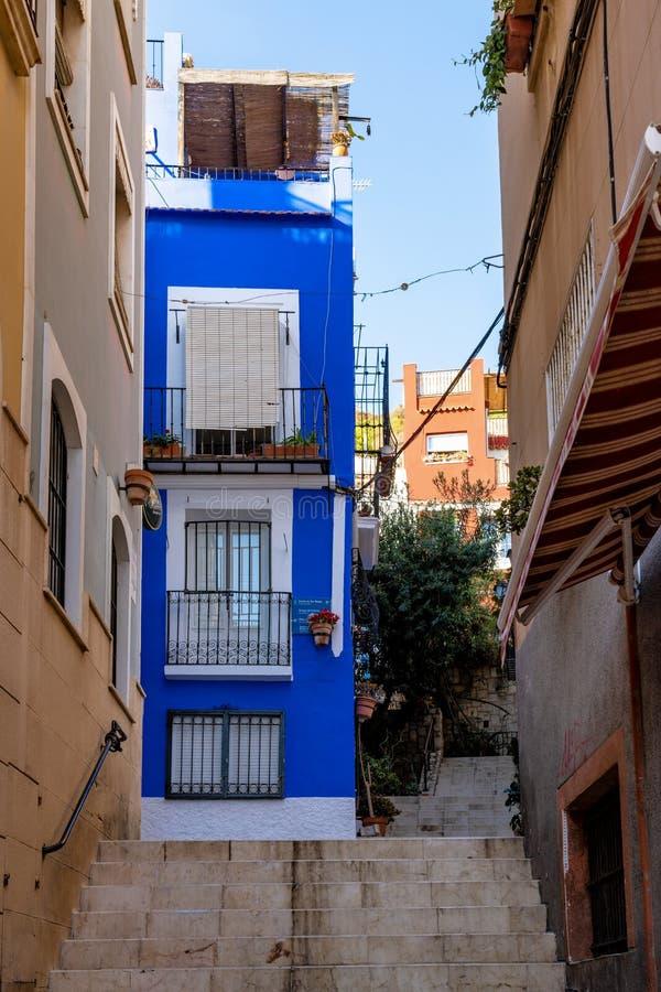 Beautiful old street in Alicante city, Costa Blanca, Spain. In Western Europe royalty free stock photo