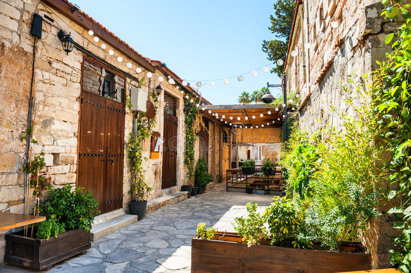 Beautiful old street in Limassol, Cyprus. royalty free stock image