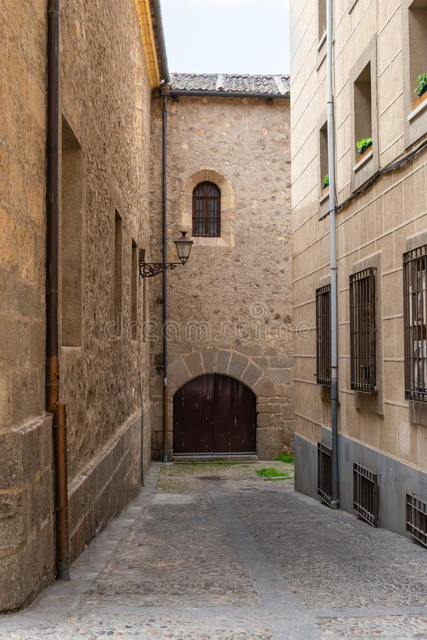 Beautiful old street in Segovia, Castilla y Leon, Spain.  stock images