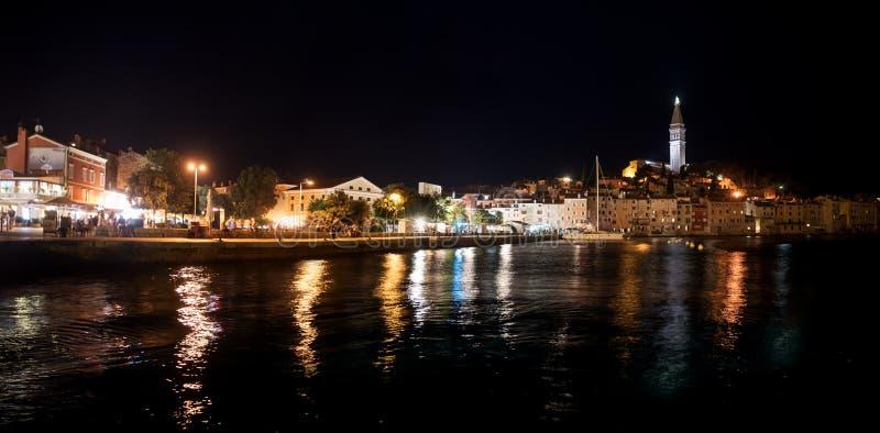 Beautiful old town of Rovinj, Istria Croatia at night. Beautiful old town of Rovinj at night, popular tourist destination at Istria peninula, Croatia stock photo